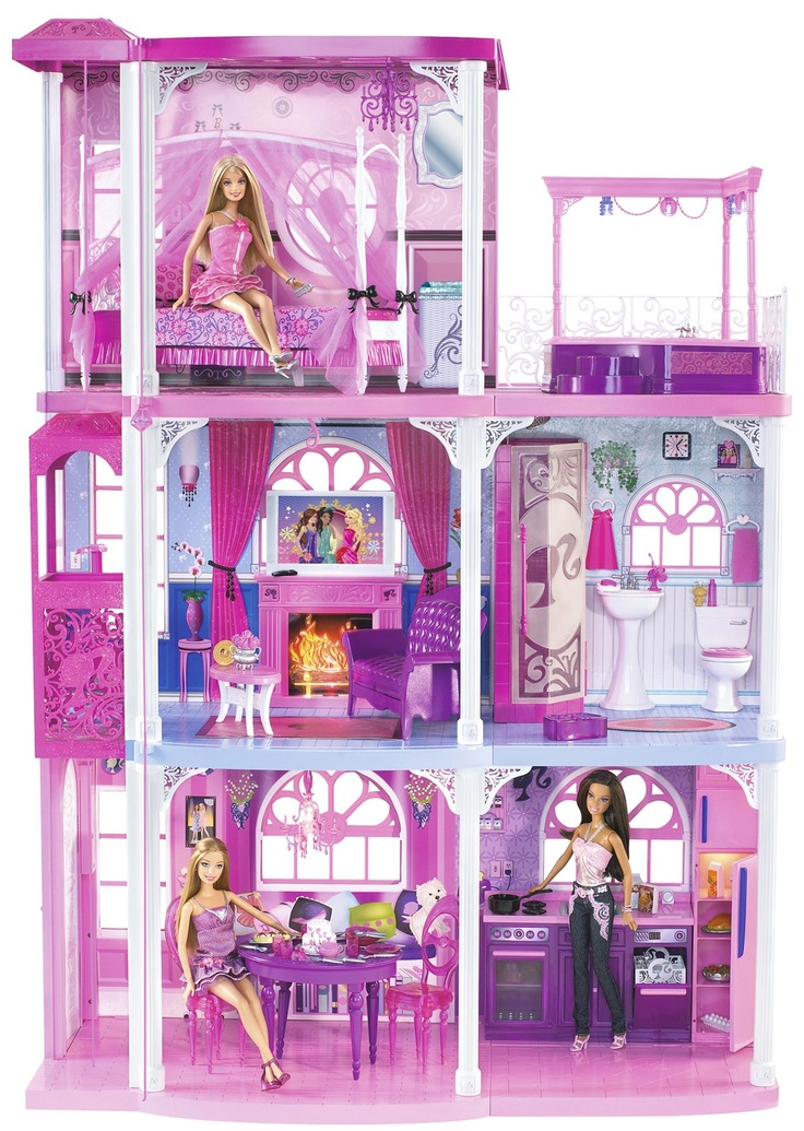 Barbie Pink Dream Townhouse by Mattel A pink elevator?a roaring fireplace?an outdoor whirlpool! This place is a dream townhouse. The 3-story house features light and sound effects on every floor. Enter through the front door to a glowing chandelier, dining area and fully stocked kitchen. Swing by the second floor to lounge in the living room or check out the luxury bathroom with singing shower.