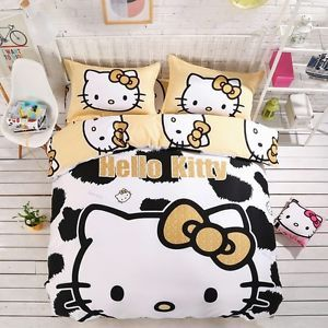 3D Hello Kitty Carton Quilt Duvet Cover Bed Sheet Bedding Set Bedding Leopard | eBay