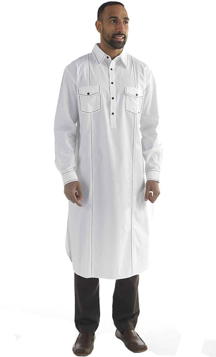 This men's Kurta tunic is simple and sophisticated! Standard collar, buttons front neck to chest and two chest front pockets. Fabric: 100% Cotton Poplin