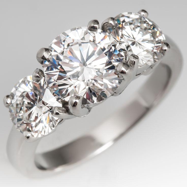 three stone diamond engagement ring platinum 173ct dvs1 center - Estate Wedding Rings
