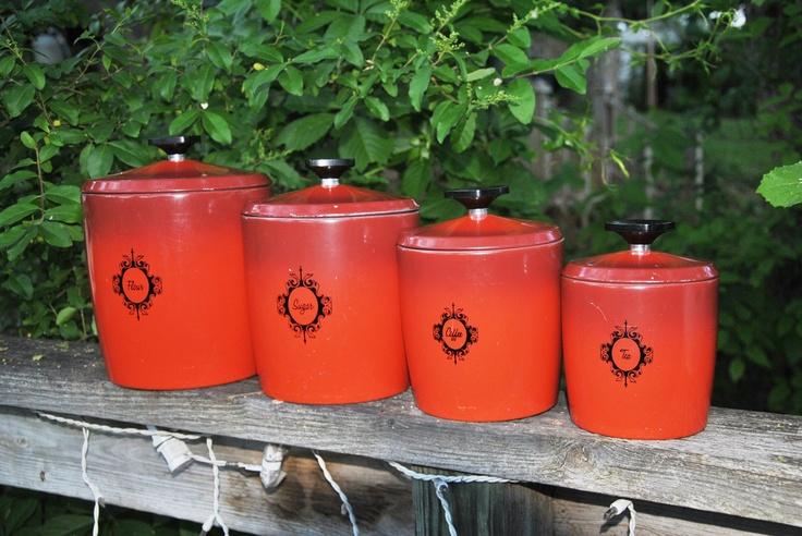Vintage west bend canister set in burnt by for Kitchen set orange