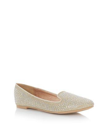 Gold Diamante Stud Slipper Shoe