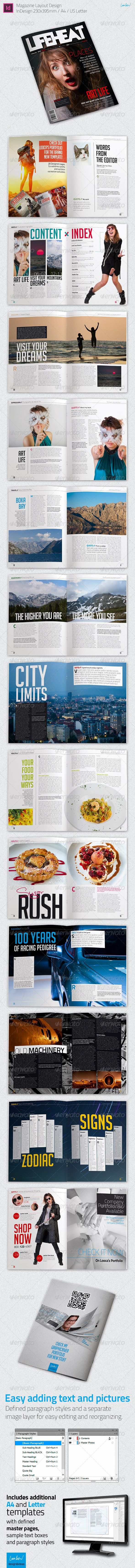 """Modern Magazine Layout - InDesign #GraphicRiver Magazine Layout Template """"LIFEHEAT"""" – Adobe InDesign Click here for the live PDF preview of this magazine Every single image is included, except the car in the background of the """"Automotive"""" page. I'm a photographer besides being a designer, and all the photos are mine, I'm giving them away for use with this template. Specs: Indesign CS6 and IDML files for old CS versions included 230×395mm (beautiful for magazines) +3mm of bleed Extra A4 and…"""