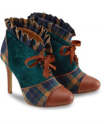 Simply beautiful with a vintage feel. These gorgeous shoe boots mix velvet and checks for the ultimate style statement. Heel height: 10cm