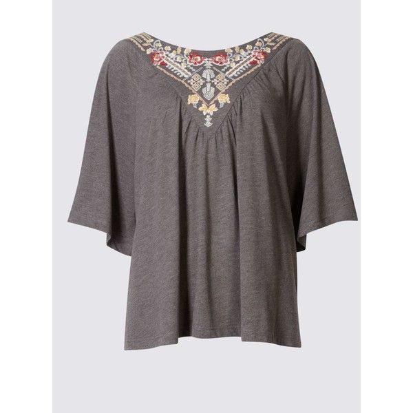 Embroidered Half Sleeve Jersey Top (2.220 RUB) ❤ liked on Polyvore featuring tops, loose fit tops, elbow length sleeve tops, loose fitting tops, jersey top and bohemian tops