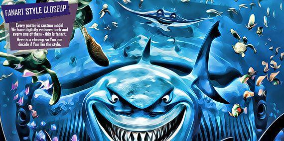 Finding Nemo print fan art finding nemo poster finding nemo