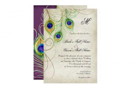 WeddingInvitationsJournal.com | Peacock Feather Wedding Invitations | http://www.weddinginvitationsjournal.com