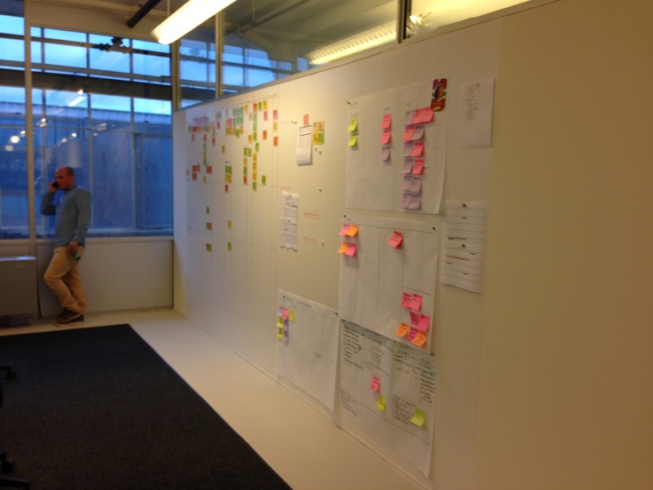 Creative wall, wand met systex magnetisch behang en gecoat met whiteboard coating. Locatie van Nelle fabriek 2013