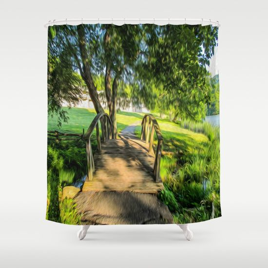 Scenic Shower Curtains #bridges #digitalart #landscapes #homedecor #bathroomdecor