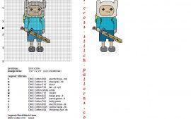 Finn l'Humain Adventure Time grille motif point de croix