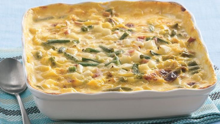 Take advantage of easy short-cuts like frozen vegetables and prepared soup for this creamy meat-and-potatoes medley.