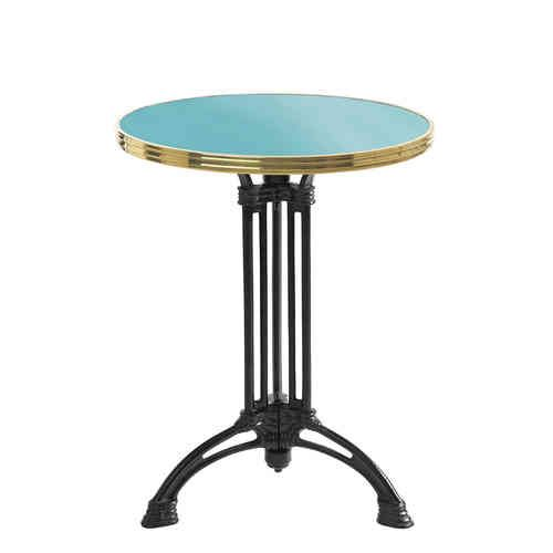 Beautiful French Bistro table made to measure with Eiffel feet.  Table de bistrot ronde émaillée - Gamme tradition - Guéridon Bleu Turquoise