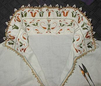 SCA embroidered partlet. hand sewn hand embroidered hand made bobbin lace