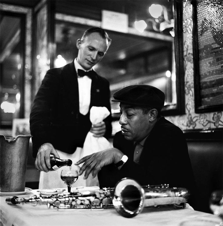 Our musicians loved that place called Paris, France where they experienced Freedom. Imagine a white person serving you in 1958 in the U.S. Not very likely. Here is one of our great Saxophonists Johnny Hodges in a cafe in Paris in 1958. Photo courtesy of Herman Leonard.