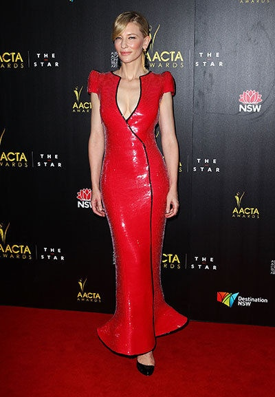 Cate Blanchett - ver the fashion risk-taker, The Hobbit star poured her figure into show-stopping Armani Prive to rub shoulders with awards host Russell Crowe, AACTAs president Geoffrey Rush and Nicole Kidman. Their reunion marks the first time all four actors, each of whom has won an Oscar, a BAFTA, a Golden Globe and an AFI Award, have been in the same room at the same time for an awards ceremony.