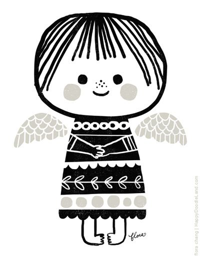 Christmas Angel - I love the simplicity of this, would be a great lino cut print