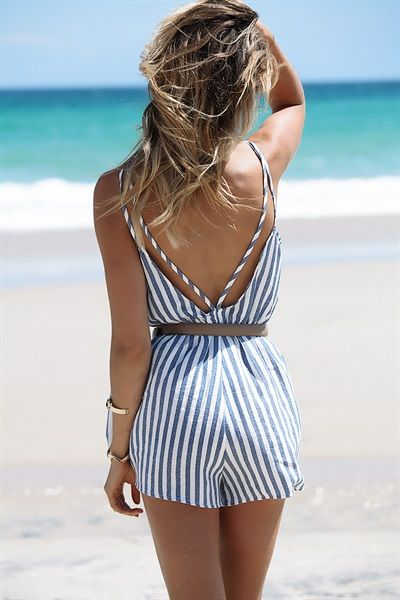 Cassi Stripe Playsuit #SaboSkirt