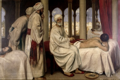 al-Zahrawi treating a patient while students look on. Islamic hospitals were sites of medical education from their establishment in the 900s CE. The most famous hospitals, including those in Baghdad, Damascus and Cairo, contained lecture rooms, pharmacies and libraries. As important as reading and mastering texts was to instruction in the Islamic tradition, many students received practical training in hospitals. Some even observed patients at the bedside.
