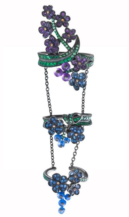 Lydia Courteille Harem King Ring - Multi-color sapphires, amethysts and tsavorites in 18k black gold