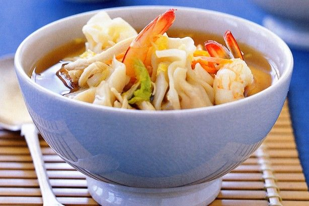 Flavoursome pork mince wontons bathe in this beautiful chicken and prawn soup to create a magnificent Asian meal.