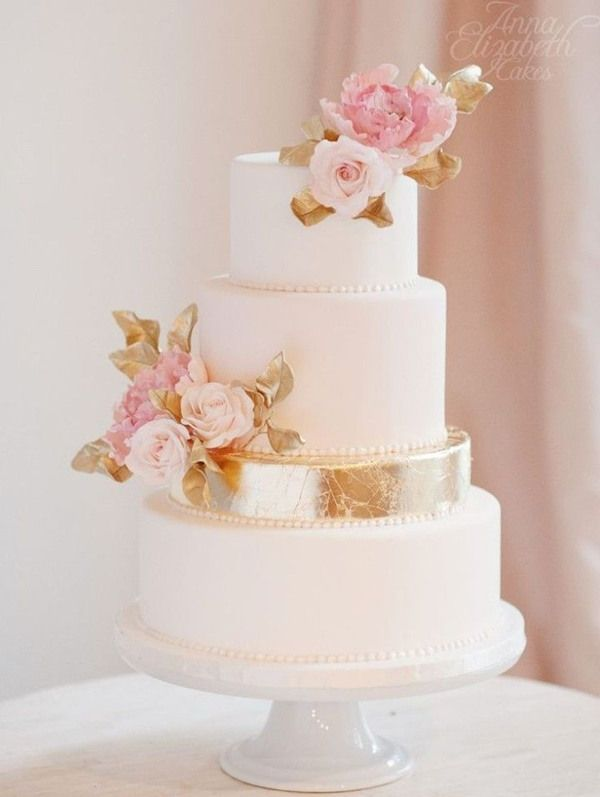 elegant pink rose and gold wedding cakes with vintage touches