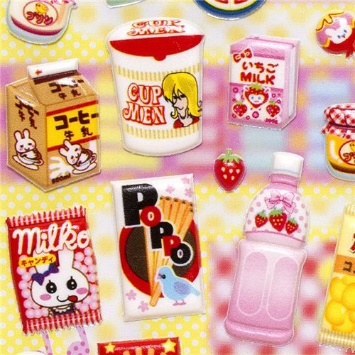 cute Japanese snacks & food puffy stickers