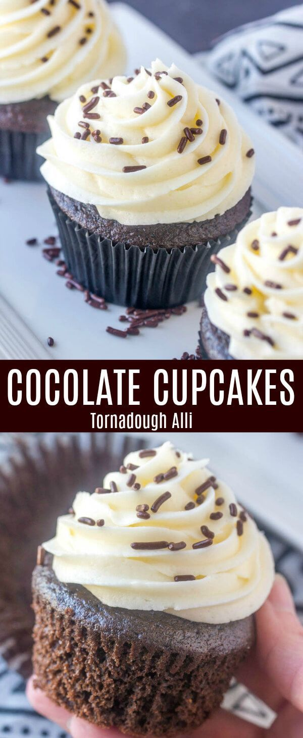 Basic, easy and delicious these Chocolate Cupcakes are a staple recipe to have in your baking arsenal. Rich, fluffy and tasty! A classic treat. #cupcakes #cupcake #baking #chocolate #sprinkles #buttercream #frosting via @amiller1119