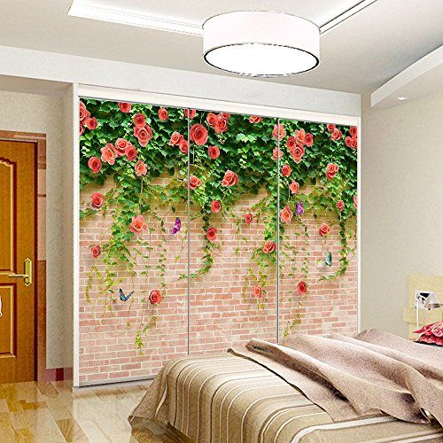 yazi Personalized Custom Size Porch Kitchen Sliding Door Decorative Sticker Opacity Selfadhesive Closet Wardrobe Mural Rose Brick -- Click image to review more details.