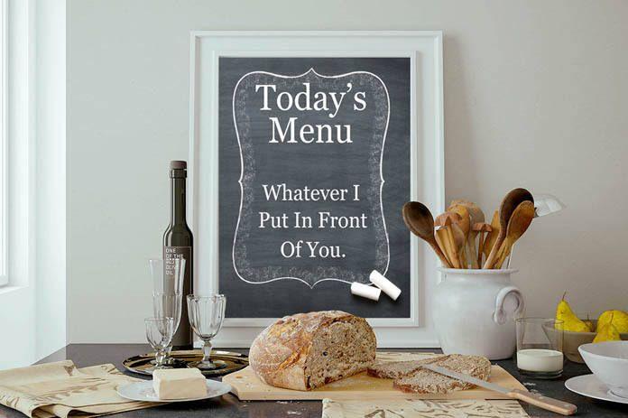Funny kitchen print - Menu Print -Printable Poster - Kitchen Decor - Todays menu print - Printable wall art - Typography Print Art by KingsfieldInn on Etsy https://www.etsy.com/listing/246521585/funny-kitchen-print-menu-print-printable