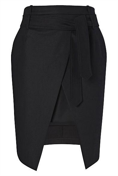 Tie Split Skirt