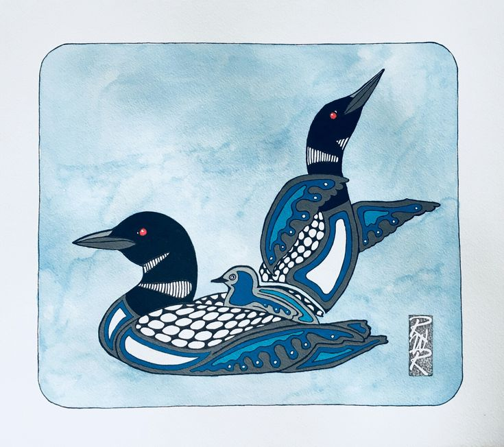 """The Loon Family"" ink and acrylic created by Rick Roberts"