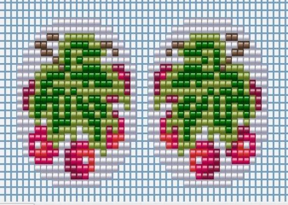 Схемы: Вы просили миниатюры ? Таки их есть у меня )))) Калина красная брошь-кулон и серьги (кольцо).