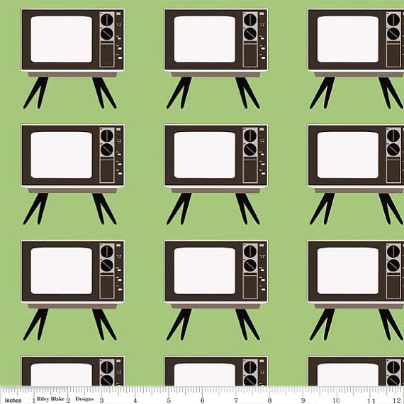 SALE Geekly TV Green from Geekly Chic Collection by DahliaFabrics