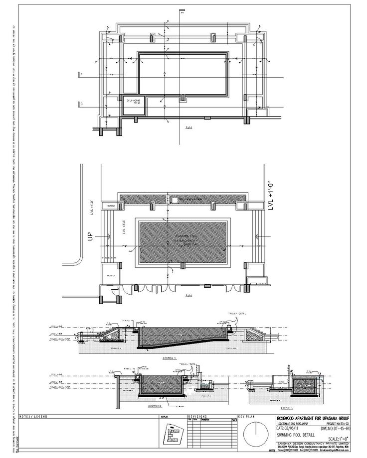 Swimming pool section detail infinity for Plan for swimming pool