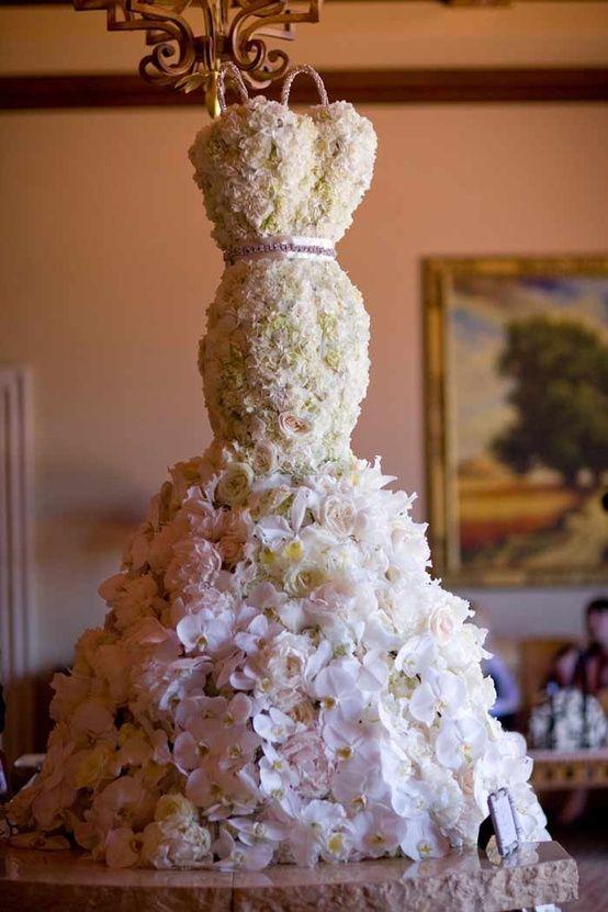 Luxury wedding dress centerpiece bridal shower for Wedding dress vase centerpiece