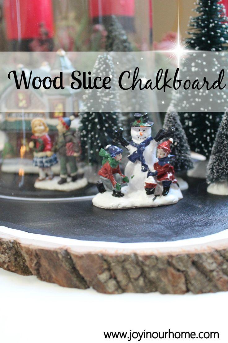 Wood Slice Chalkboard November Challenge at www.joyinourhome.com