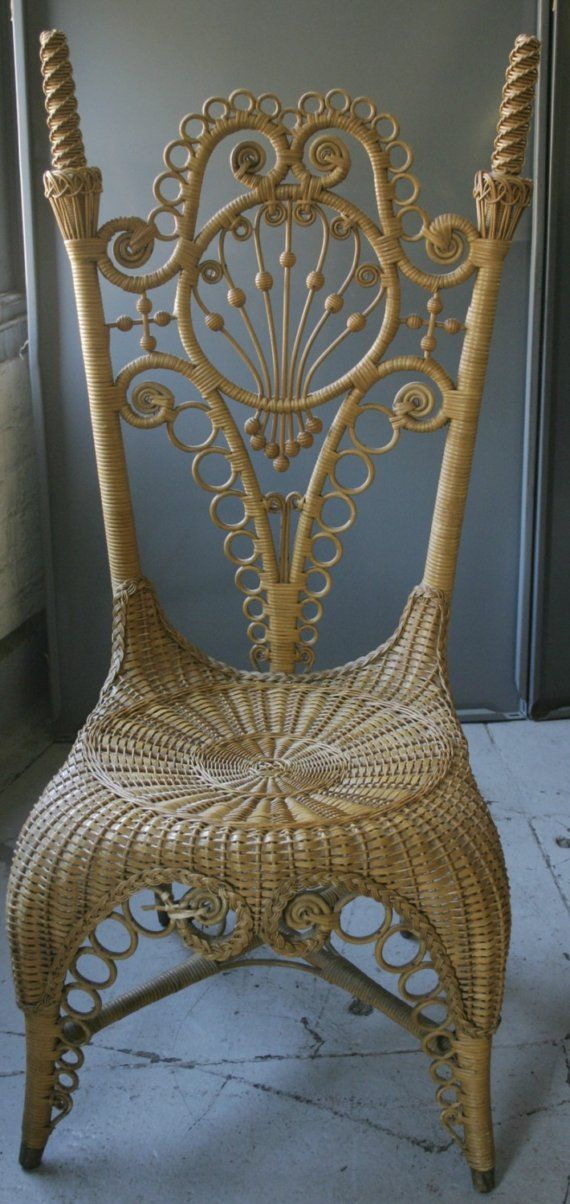Love this vintage cane chair found on etsy! Perfect for your ceremony or reception to hold a bunch of wild flowers, or as a registry-signing chair. See more Etsy Treasures here: http://blog.thelane.com/2012/02/20/etsy-treasures-of-the-week-4/                                                                                                                                                                                 More