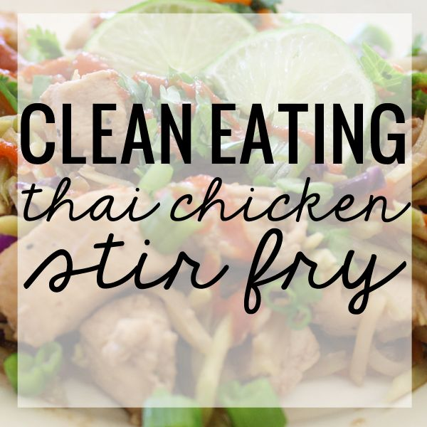 Awesome Clean Eating Thai Chicken Stir Fry recipe using broccoli slaw, carrots, chicken, coconut milk and peanut. All the flavor of your favorite pad thai!