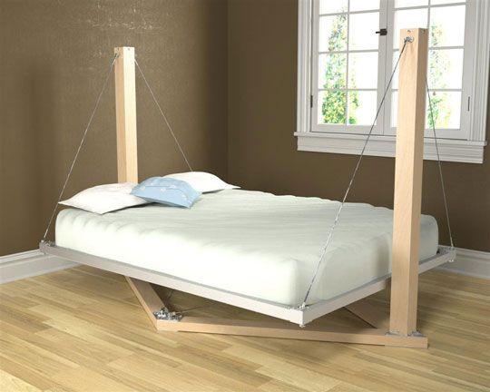 Suspended Bed: Creative Beds, Kids Bedrooms, Idea, Floating Beds, Hammocks Beds, Beds Frames, Suspenders Beds, Beds Design, Swings Beds