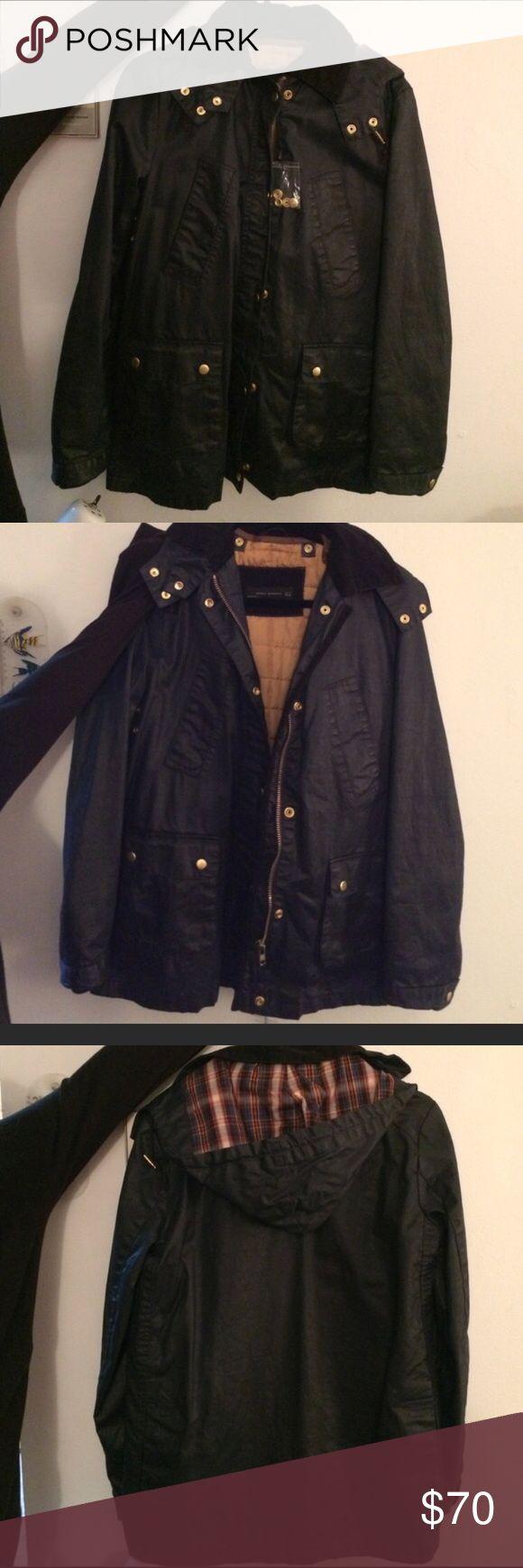 "Zara woman waxed jacket navy blue Never worn without tag . Navy blue waxed jacket gold buttons. Removable insert and hood. Bust 40"", 25"" length sleeve, 28""length, 17""across shoulders. Zara Jackets & Coats Utility Jackets"