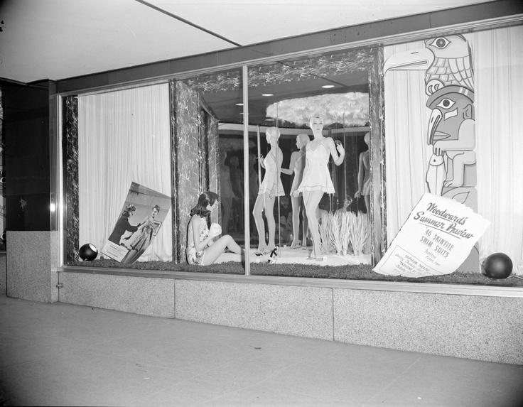 Woodward's Store bathing suit window display - City of Vancouver 1946 Archives