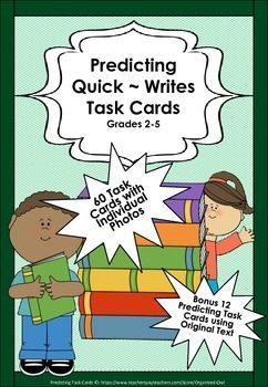 This resource is fantastic for building on childrens prediction skills. The photos vary in complexity and some lend themselves towards children drawing more obvious conclusions.  The written text are completely original and a little more challenging. Educators are able to differentiate predicting activities in their class using these Task Cards.