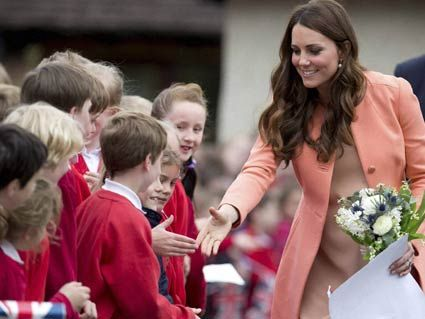 NAOMI HOUSE!!!  Kate, Duchess of Cambridge, shakes hands with school children
