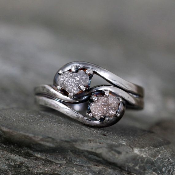 Hey, I found this really awesome Etsy listing at https://www.etsy.com/uk/listing/254749965/two-stone-raw-diamond-ring-1-carat-raw