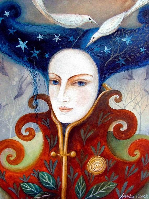 Art print Bird Lady by Amanda Clark by earthangelsarts on Etsy, $38.00