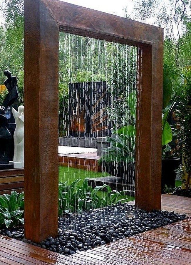 jardim com cascata