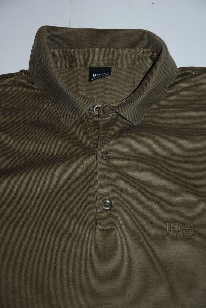 Based UK Hugo Boss Mercerised Cotton Mens Green Polo Shirts Short XL Olive