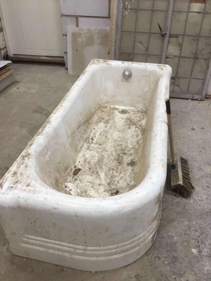Cast iron, antique, white, art deco, 6 foot, corner bath. Includes spout and drain cover. | eBay!