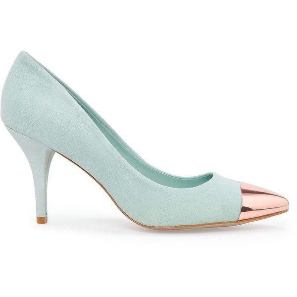 MANGO Metallic cap toe stilettos (1,970 EGP) ❤ liked on Polyvore featuring shoes, pumps, mango, heels, zapatos, water, stiletto heel pumps, rubber shoes, metallic heel shoes and rubber heel shoes