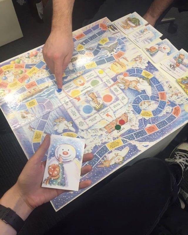 "Penguin Ventures (@penguinventures) on Instagram: ""Working hard in #TeamVentures today - testing an original @officialthesnowman board game!"""